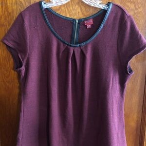 Burgundy blouse with faux leather piping